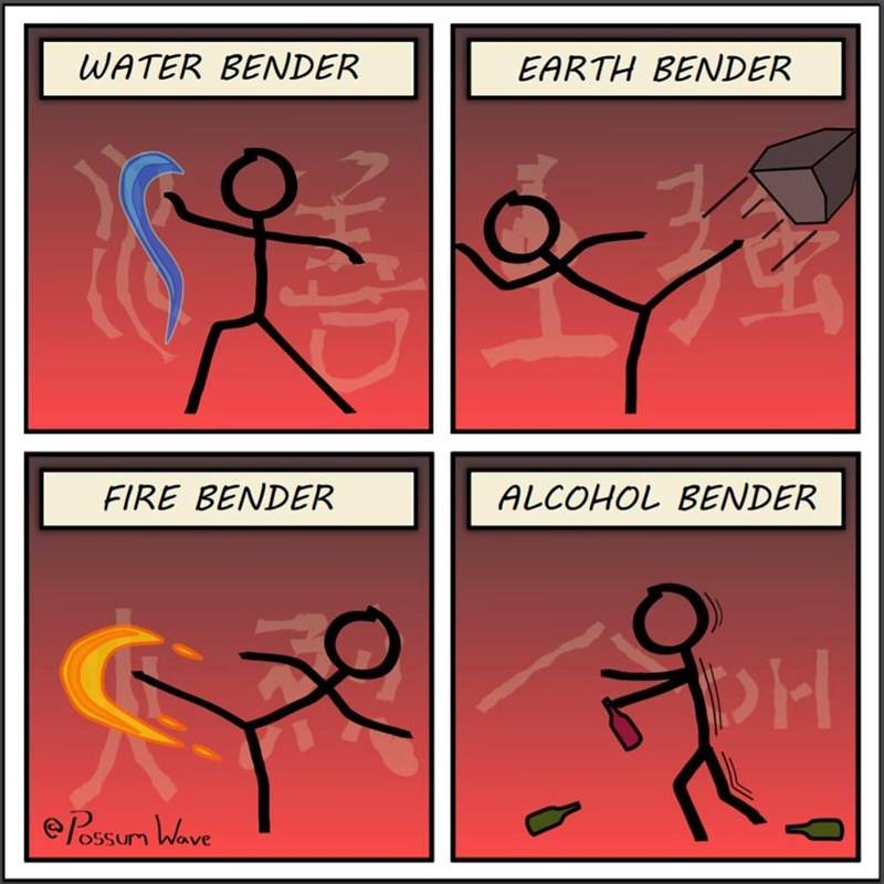 comic about the four elements but changing one to alcohol bender