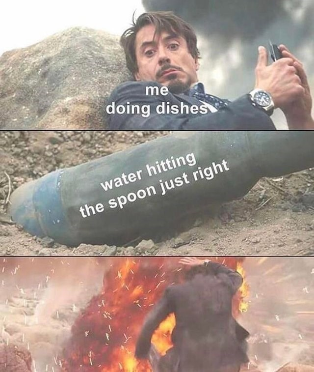 Funny meme with iron man, robert downey jr, washing dishes, spoon.