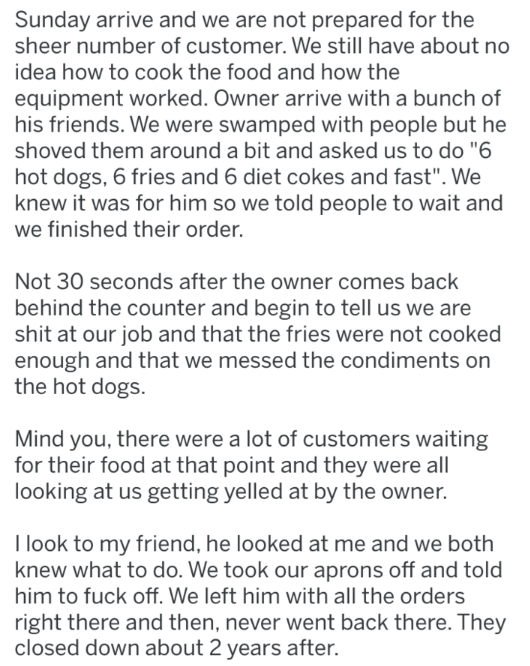 post about a restaurant where the manager was treating the employees unfairly