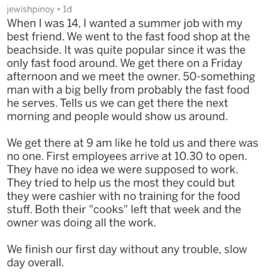 post about 2 young boys getting a job at a fast food joint and not being assigned to anything and without the coworkers knowledge