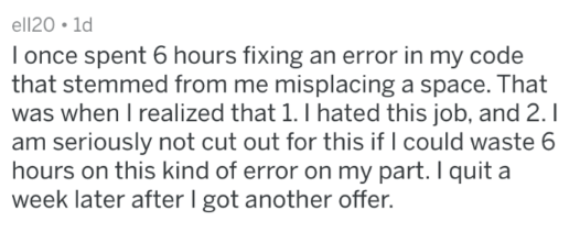 post about an employee who quit after realizing his job is a waste of time