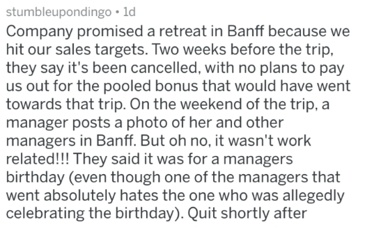 post about managers taking employees retreat for themselves