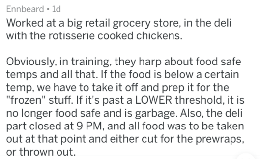 post about working with the rotisserie chickens at a grocery store