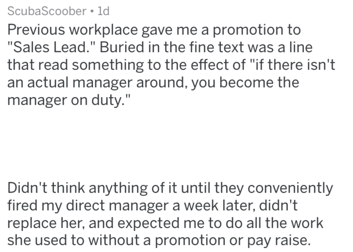 post about becoming a manager without getting the compensation for it