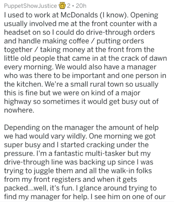 reddit rant at a McDonald's part 1