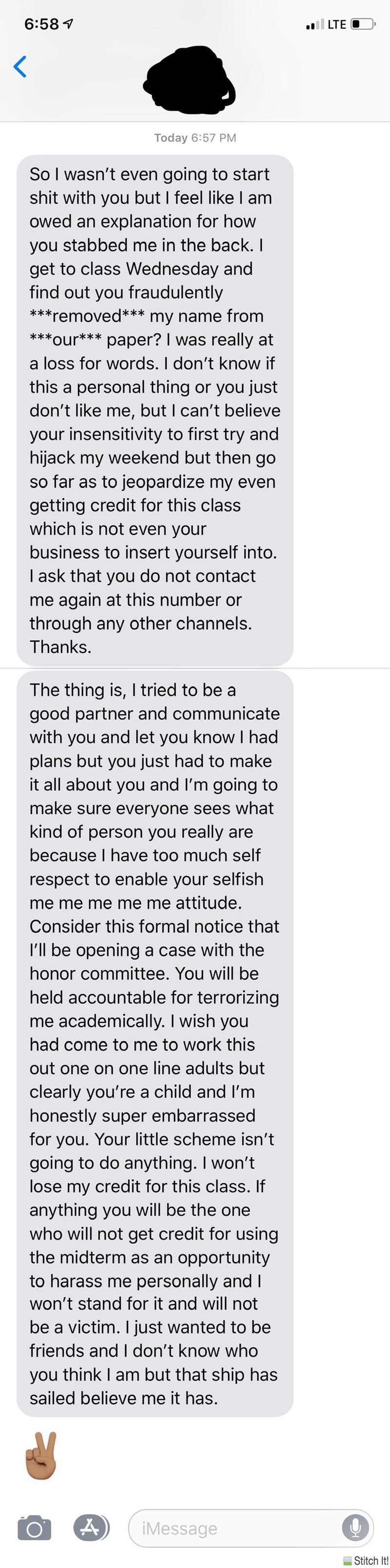text message about partners in a school project that one ended up screwing the other