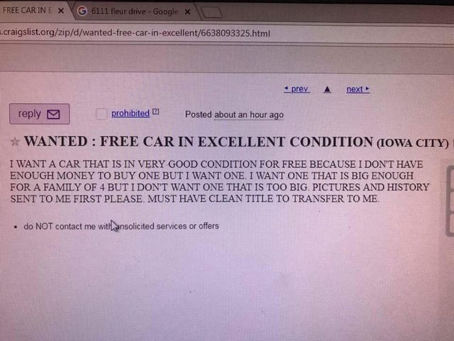 craigslist post of a person looking for a free car
