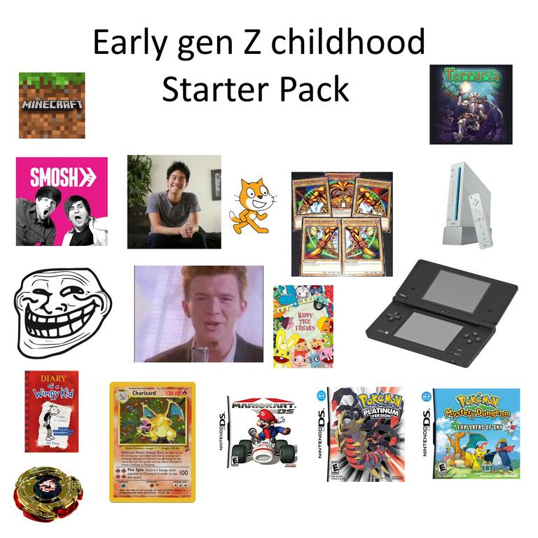 starter pack meme about early gen z childhood
