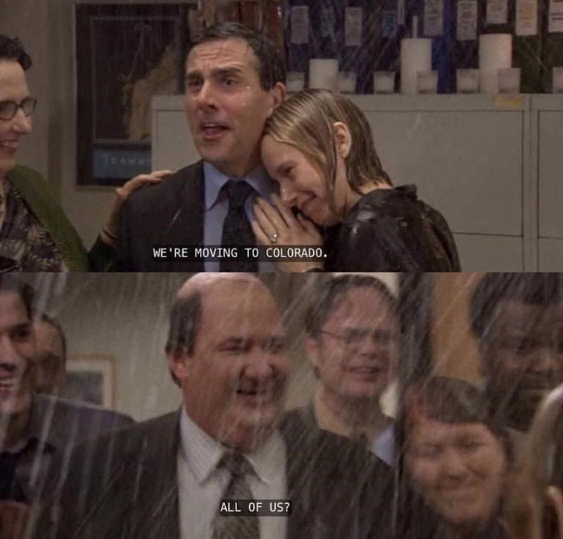 The Office scene of Kevin asking Michael if he's moving to Colorado with him