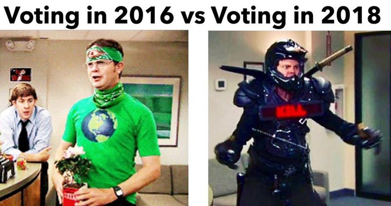 meme about voting with 2016 represented by peaceful Dwight and 2018 by Dwight in armor