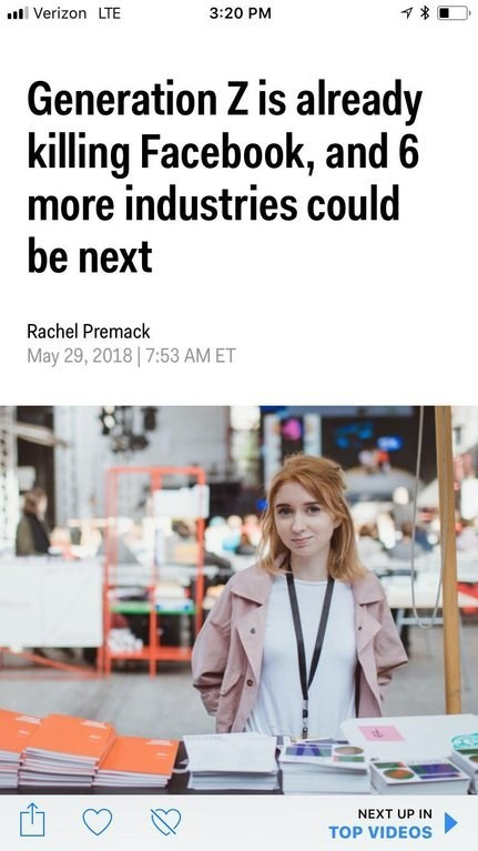 """Headline that reads, """"Generation Z is already killing Facebook, and six more industries could be next"""""""