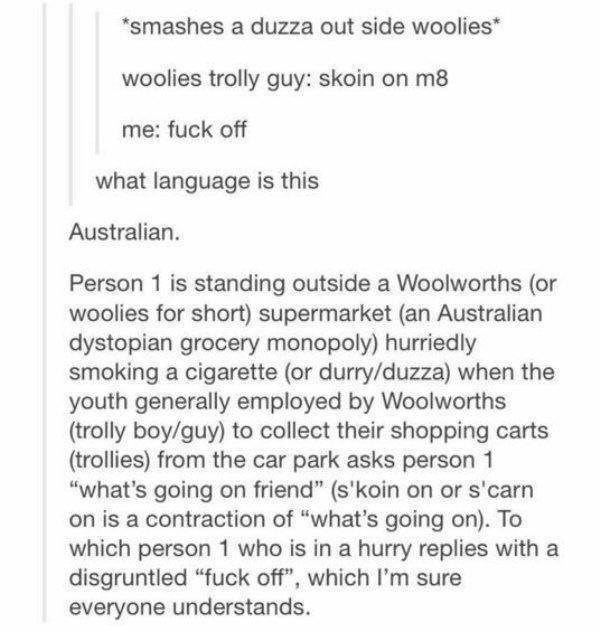 "australia - Text - smashes a duzza out side woolies* woolies trolly guy: skoin on m8 me: fuck off what language is this Australian Person 1 is standing outside a Woolworths (or woolies for short) supermarket (an Australian dystopian grocery monopoly) hurriedly smoking a cigarette (or durry/duzza) when the youth generally employed by Woolworths (trolly boy/guy) to collect their shopping carts (trollies) from the car park asks person 1 ""what's going on friend"" (s'koin on or s'carn on is a contract"