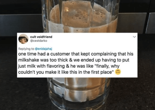 Milkshake that was too thick and wanted just milk basically