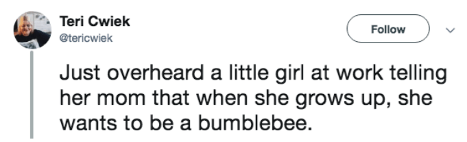 tweet of little girl at work that told mom she wants to be a bumblebee when she grows up