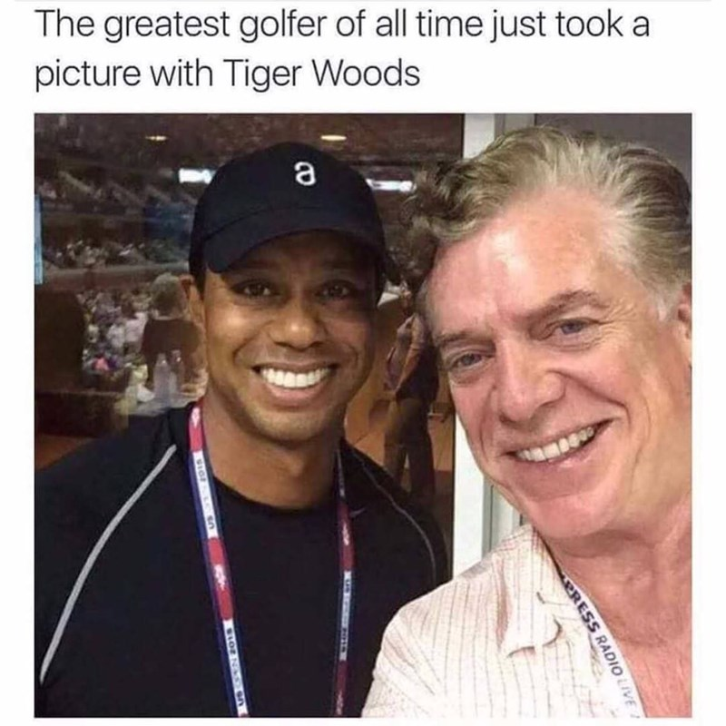 People - The greatest golfer of all time just took a picture with Tiger Woods PRESS