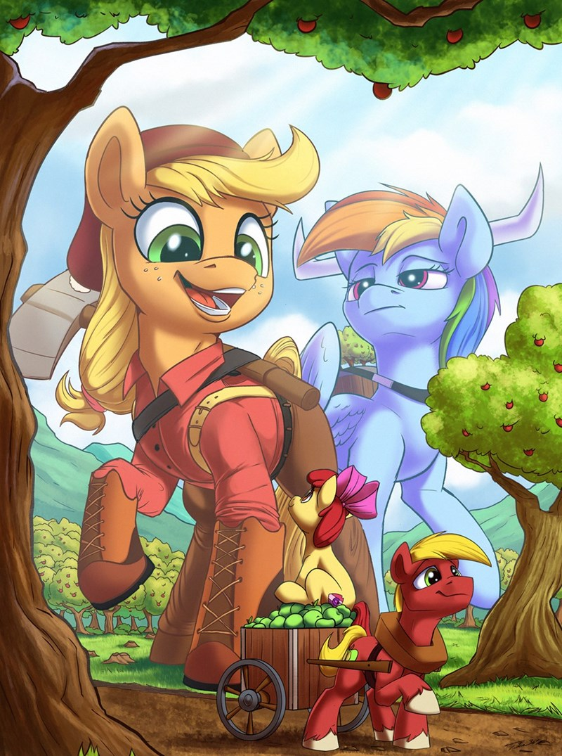 applejack apple bloom tsitra360 Big Macintosh paul bunyan rainbow dash - 9234974976