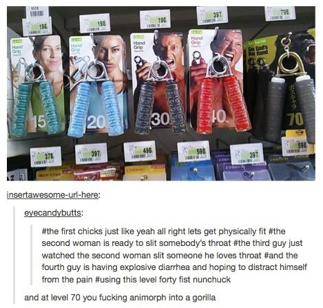 tumblt post about hand grips with different facial expressions of people as their ads
