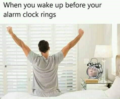 Text - When you wake up before your alarm clock rings