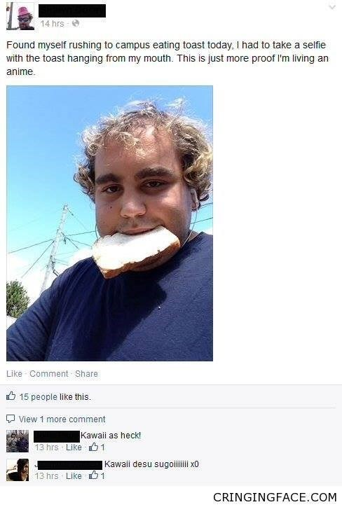 "Facebook status that reads, ""Found myself rushing to campus eating toast today. I had to take a selfie with the toast hanging from my mouth. This is just more proof I'm living an anime"" above a pic of a guy with toast in his mouth"