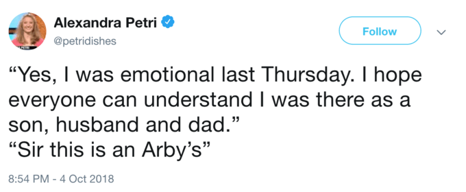 Emotional tweet but SIR THIS IS AN ARBY's