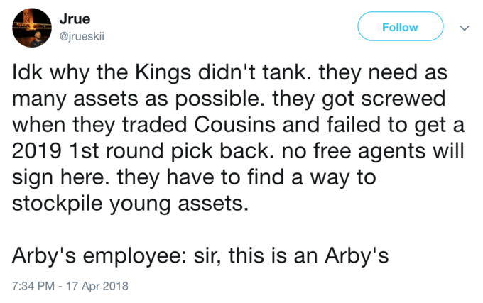 Sports side talk but SIR THIS IS AN ARBY's