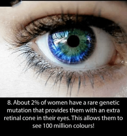 Blue - 8. About 2% of women have a rare genetic mutation that provides them with an extra retinal cone in their eyes. This allows them to see 100 million colours!