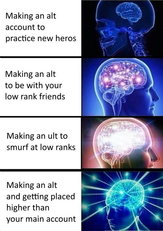 expanding brain meme about making alternative accounts in games