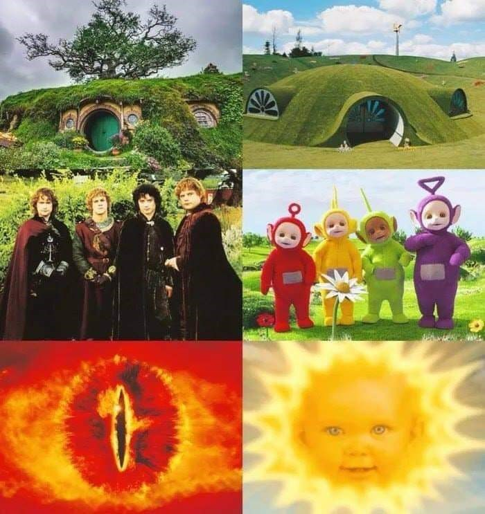 meme comparing Lord of the Rings to the Teletubbies