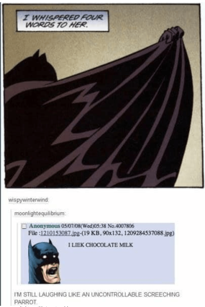 """dramatic panel from Batman comic followed by 4chan comment that says """"I like chocolate milk"""""""