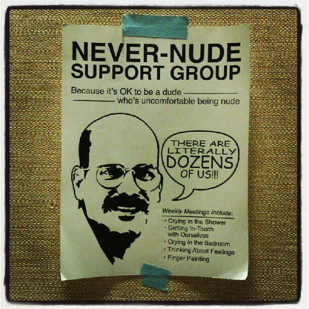 Arrested Development meme about ad for never nude support group with picture of Tobias