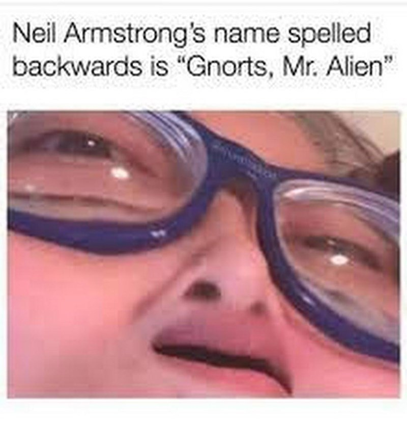 """meme about Neil Armstrong's name spelled backwards being """"Gnorts Mr Alien"""""""