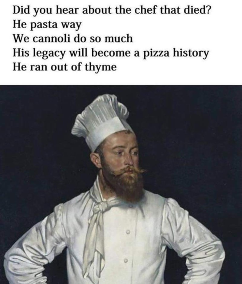 puns about pasta with picture of chef
