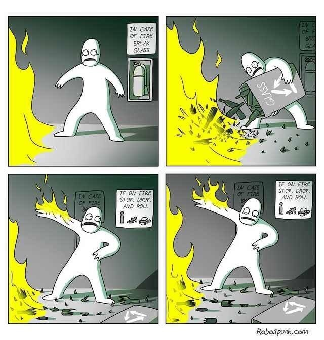 comic about misunderstanding directions for fire emergency and making it worse