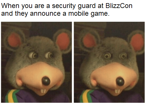 Diablo Immortal meme about security when Blizzard announced the game with Chuck E Cheese mouse