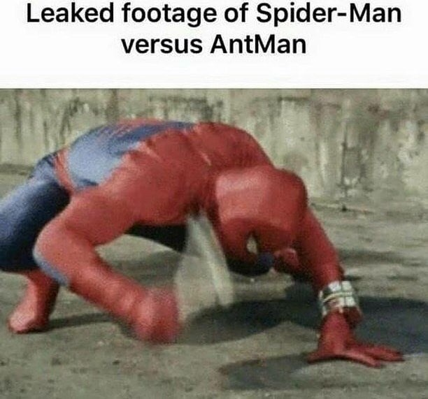 meme about leaked footage of Spider Man vs Antman with picture of Spider Man smacking the floor
