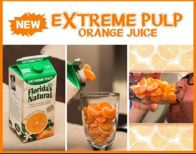 "Fake ad for ""Extreme pulp orange juice"" which shows pics of a glass full of just orange slices"