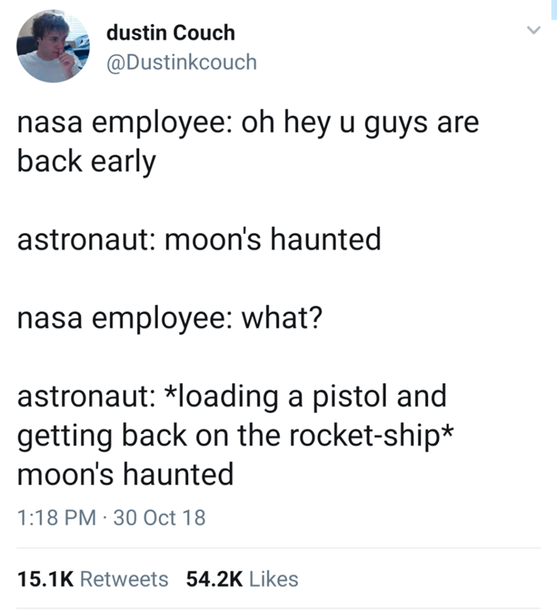 tweet post about the moon being haunted according to an Astronaut from NASA