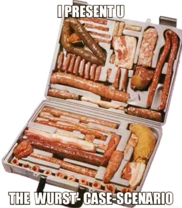 meme image of a case filled with wurst sausages for a WURST - CASE - Scenario