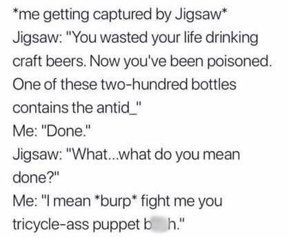 meme post about being captured by jigsaw from fortnite