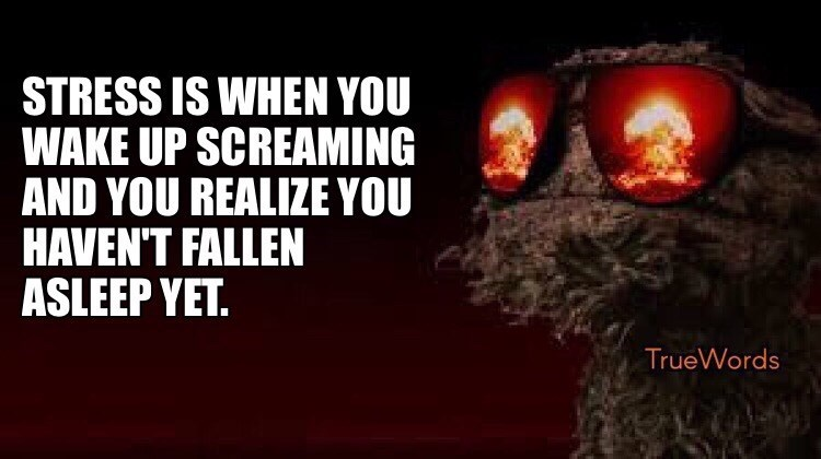 meme image about being stressed when you wake up screaming and you haven't even fallen asleep