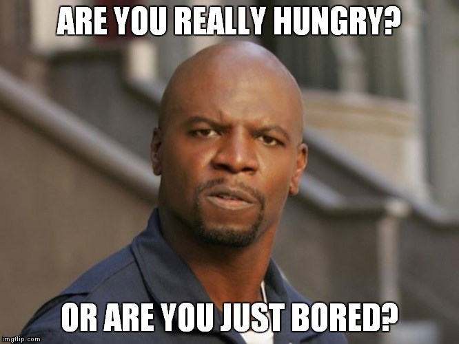 Terry Crews questioning if you're really hungry or only eating because you're bored