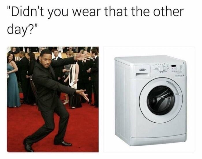 Will Smith presenting wife meme about not hearing anything when the washing machine is turned on