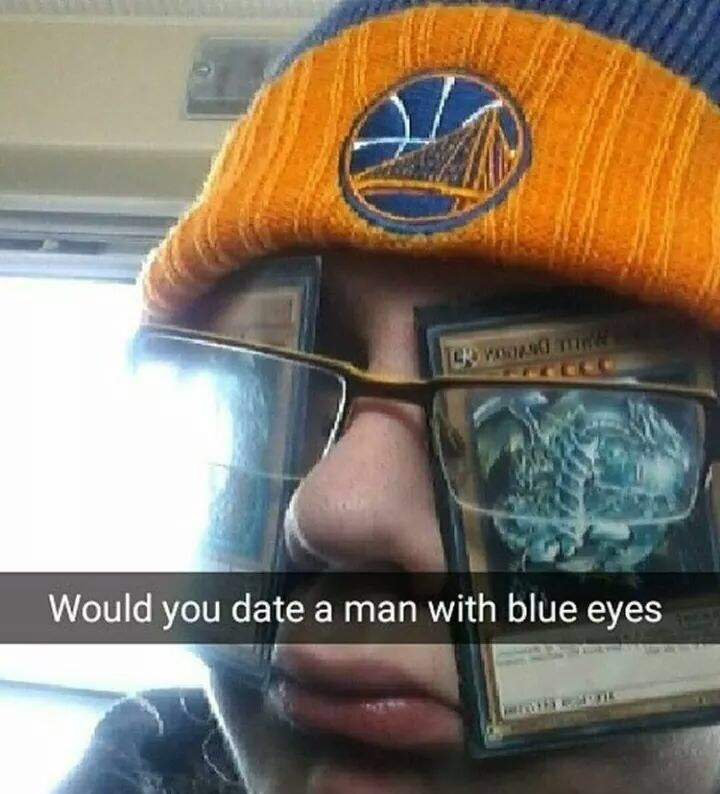 "sticking ""blue eyes white dragon"" Yugioh cards to glasses to make yourself have blue eyes"