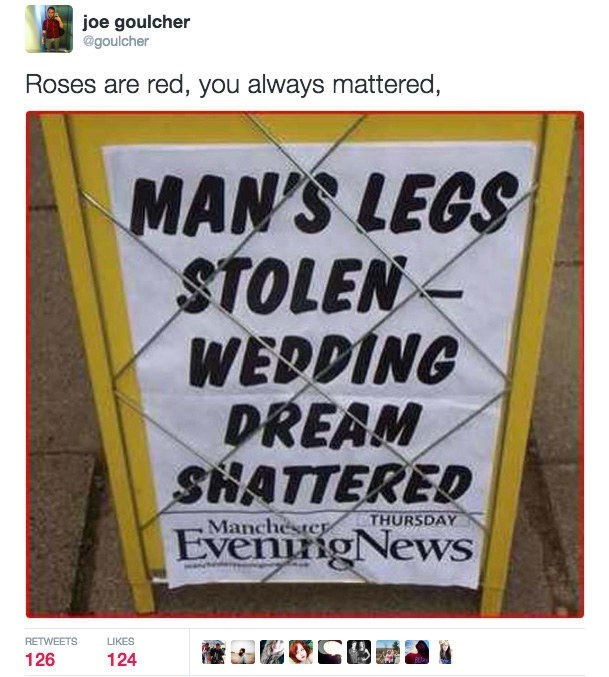 "Tweet turning headline about man's stolen leg into line in ""roses are red"" poem"