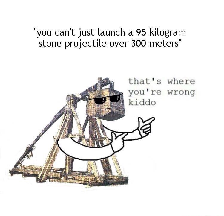 meme about trebuchets and their characteristics