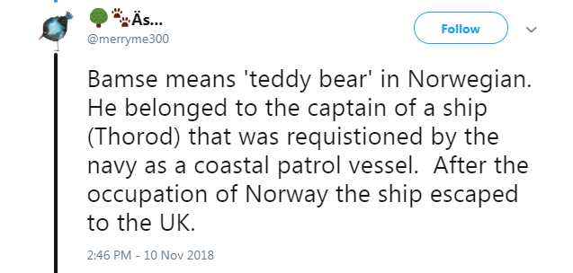 Text - Äs... Follow @merryme300 Bamse means 'teddy bear' in Norwegian. He belonged to the captain of a ship (Thorod) that was requistioned by the navy as a coastal patrol vessel. After the occupation of Norway the ship escaped to the UK 2:46 PM 10 Nov 2018