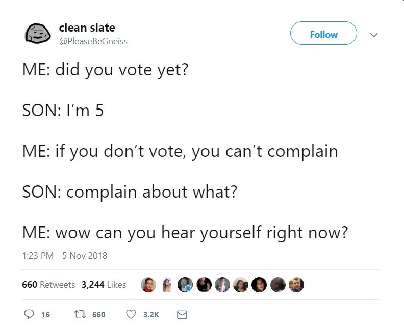 Tweet about telling 5 year old they can't complain if they don't vote