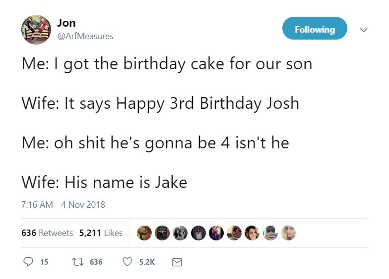Tweet about getting the wrong name on your child's birthday cake