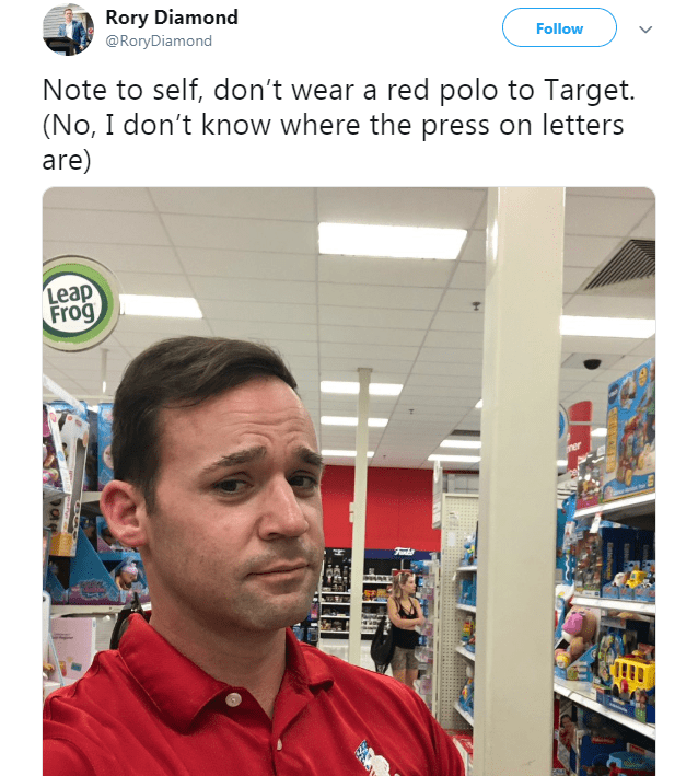 Tweet warning from wearing red to Target with picture of man looking at camera apprehensively