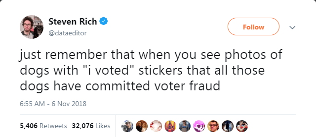 Tweet about remembering that dogs can't vote